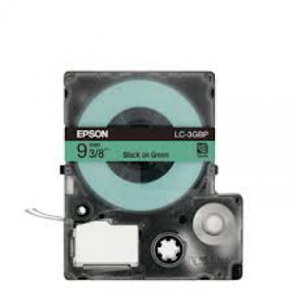 Epson LabelWorks™ LC-3GBP - 9mm Black on Green Tape