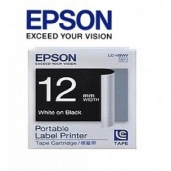 Epson LabelWorks™ LC-4BWV - 12mm White on Black Tape