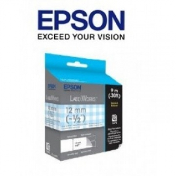 Epson LabelWorks™ LC-4CAY - 12mm Gray on Blue Check Tape
