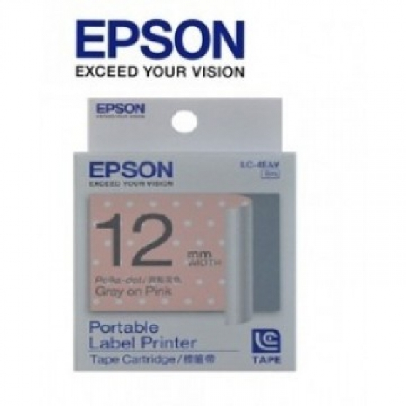 Epson LabelWorks™ LC-4EAY - 12mm Gray on PolkaDotPink Tape