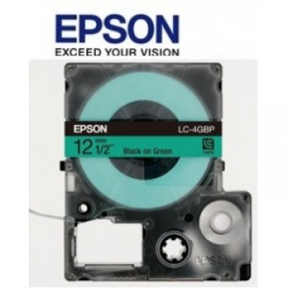 Epson LabelWorks™ LC-4GBP - 12mm Black on Green Tape